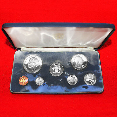 1973 Jamaica (7 Coin) Proof Set Franklin Mint Issue+.925 (Silver) 5 Dollar + Box