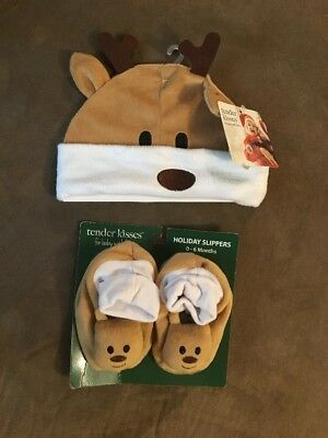 Fun Holiday Rain deer Slippers W/ Hat Infant 0-6 Months NWT Free Shipping
