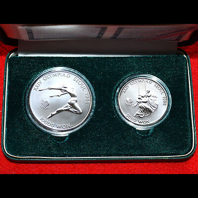 1988 Seoul Olympic (2 Coins) .925 Silver Proof Set 1000 Won Gymnastic & Swinging