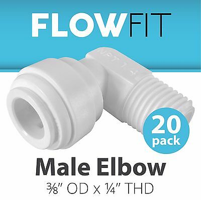 "Express Water 20-Pack Male Elbow 3/8"" x 1/4"" Quick Connect QC RO System Fittings"