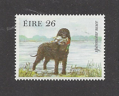 Dog Art Study Postage Stamp IRISH WATER SPANIEL 1983 Ireland Native Breeds MNH