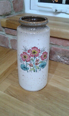 Vintage west german glazed vase with lovely unique flower print detail