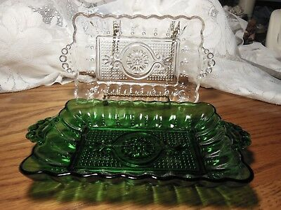 Pair of Vintage  Pressed Glass Tidbit Trays With Tab Handles 1 Green 1 Clear