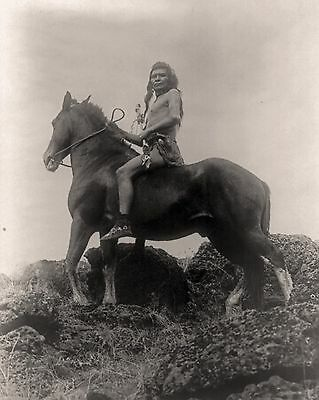 "1910 Photo of Native American Indian, Horse, The Scout, antique view,  20""x16"""