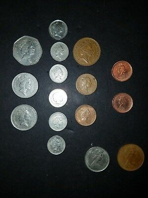 Lot of 14 English Pence Coins with 2 Canadian