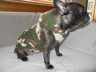 French Bulldog / Dog, Camouflage / Camo Polar Fleece Hoodie with pocket. Green