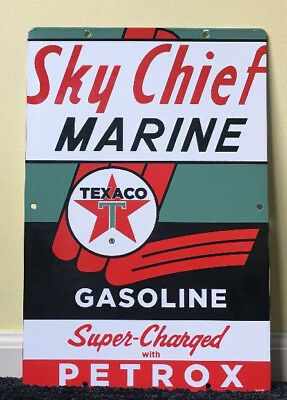 "Vintage 1962 Texaco Sky Chief Marine Gasoline 18"" X 12"" Porcelain Metal Oil Sign"