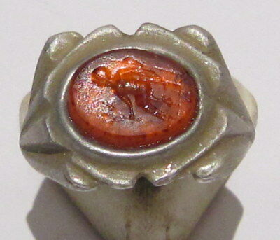Outstanding Roman Style Glass Intaglio Gem Ring With God Pax # 27A