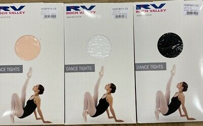 ROCH VALLEY BALLET TIGHTS Pink White Black  Age 1-2, 3-5, 6-7, 8-10, 11-13 Adult