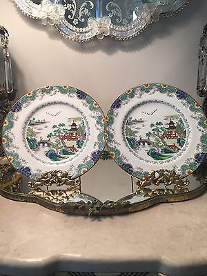 PAIR (2) ANTIQUE TIFFANY & CO CROWN STAFFORDSHIRE 8 inch PLATES CHINESE WILLOW
