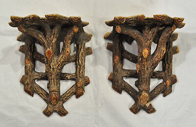 2 Antique Plaster Arts & Crafts Rustic Tree Branch Log Wall Sconce Shelves