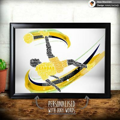 Personalised Football Yellow Grandad Father Uncle Christmas Birthday Gift Dad