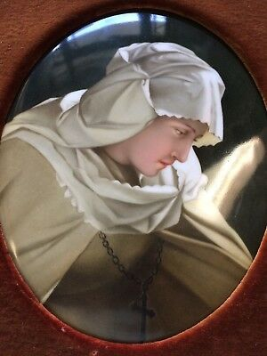 RARE: Large, 19th c. KPM Porcelain Oval Plaque Featuring a Beautiful Nun, c 1880