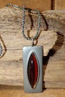 JORGEN JENSEN Pewter MODERNIST Necklace #230 Orange Rectangular Pendant DENMARK