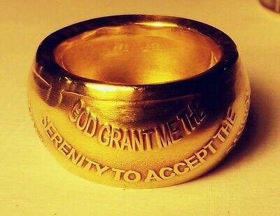 Handmade Serenity Prayer coin ring , AA sobriety  recovery token