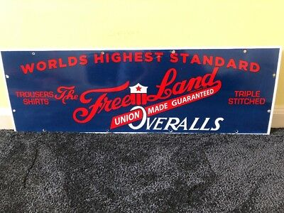 "Vintage Freeland Overalls Union Made 30"" Porcelain Metal Clothing Gas & Oil Sign"