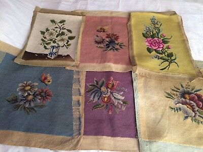 Vtg Wool Needlepoint Seat Pillow Covers lot of 6 Floral Dogwood blossom French