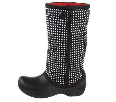 New Crocs Women's Claire Winter High Boot, Black/Red, Size 11
