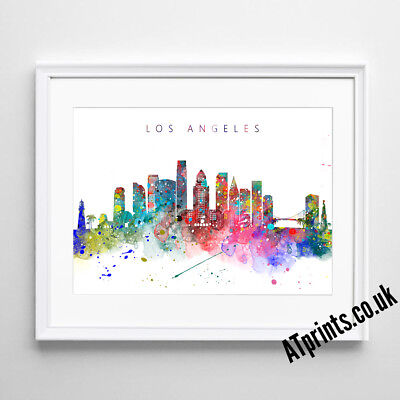 LOS ANGELES LA SKYLINE MAP Print Poster Watercolour Framed Canvas Wall Art Gift