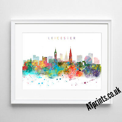 LEICESTER SKYLINE MAP Print Poster Watercolour Framed Canvas Wall Art Gift CITY