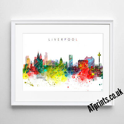 LIVERPOOL SKYLINE MAP Print Poster Watercolour Framed Canvas Wall Art Gift CITY