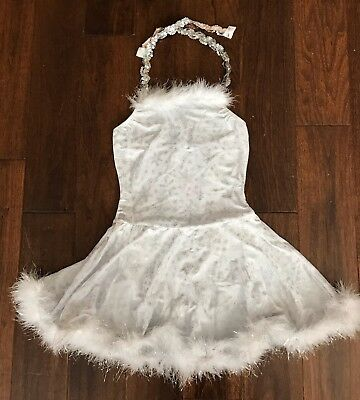 Dance Ice Skate White w Silver Snowflake Dress Costume by Dansco sz Adult Small