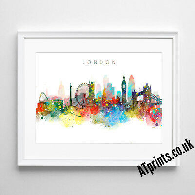 LONDON SKYLINE MAP Print Poster Watercolour Framed Canvas Wall Art Gift CITY