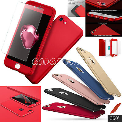 Thin 360 Hybrid Case Tempered Glass Cover Protective For Apple iPhone 8 7 6 5 SE