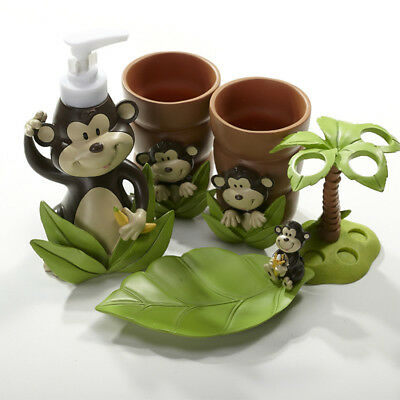 Monkey 5 Piece Resin Bathroom Accessory Toothbrush Holder Soap Dish Tumbler  Set