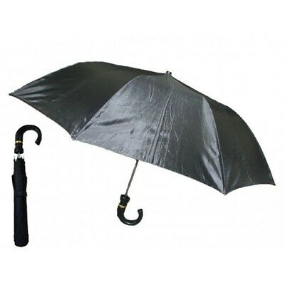 Mens Rain Umbrella Foldable Automatic Open Curved Handle Stylish Black Umbrellas