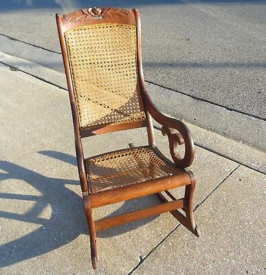 "Beautiful 40"" Antique Victorian Carved Rose Floral Maple Wood Cane Back Rocker"