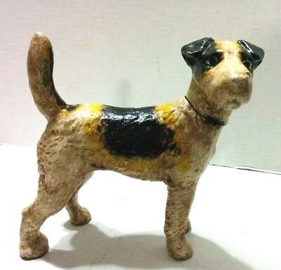 Vintage Large Sized Hubley Reproduction Fox Terrier Cast Iron Doorstop Heavy