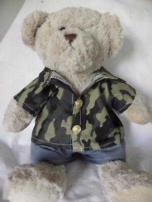 Camo to fit 15 in Pumpkin Patch teddy shirt and shorts set boys build a bear