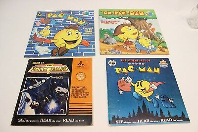 Lot of 4 Vintage Kids Books: 3x Pac Man and Asteroids (2 with untested records)