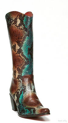 b06f9b623f9 ROCKWELL THARP TURQUOISE Carmel Python Design Cowboy Knee High Boots
