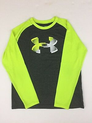 UNDER ARMOUR HEAT GEAR Loose Youth Heather Gray Neon Green Athletic Shirt