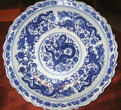 """Dragons in a Blue & White Porcelain Chinese Large Platter Asian Marking 15"""" wide"""