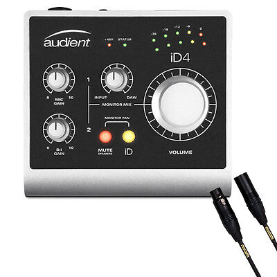 Audient ID4 High Performance USB Recording Audio Interface w/ Mogami Mic Cable