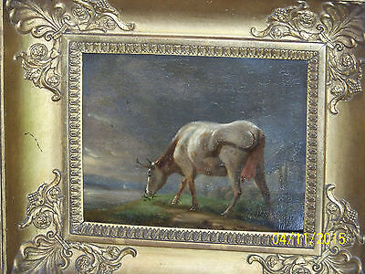 "*Jan Bedijs Tom*Listed Dutch Master Artist Antique c1850 Oil On Panel""Prize Cow"""