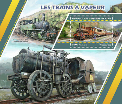 Central African Rep 2017 MNH Steam Trains Engines Locomotives 1v S/S Stamps