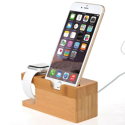 Bamboo Charging Dock Station Charger Holder Stand For Apple Watch iWatch iPhone.