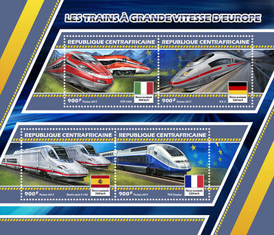Central African Rep 2017 MNH European High-Speed Trains TGV ICE 4v M/S Stamps