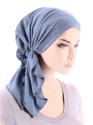Turban Plus CHEMO Pretied Scarf Royal Blue COTTON Fabric LINED NWoT