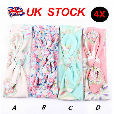 4pcs Baby Girls Kids Hairband Bow Elastic Band Headband Flower Hair Accessories