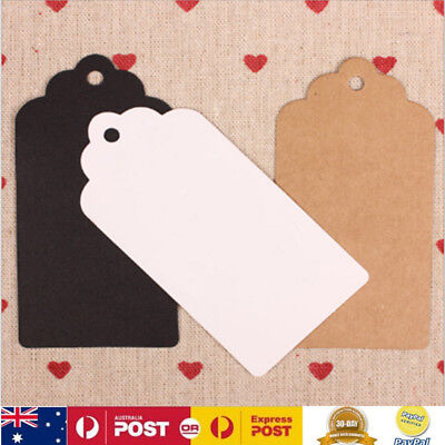 100Pcs Kraft Paper Hang Tags Favor Label Party Price Gift Cards 5x10cm 3 Colors