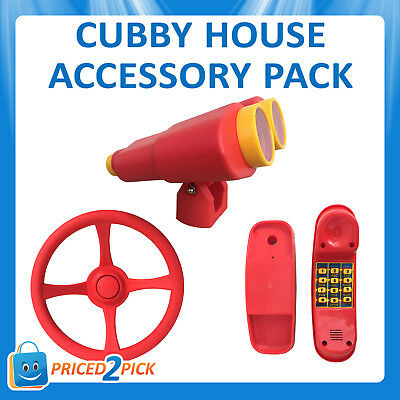 Cubby House Accessories Set Binoculars Music Phone Telephone Steering Wheel