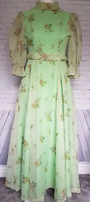 Vintage dress Size small victorian style floral hand made 1900's style prop