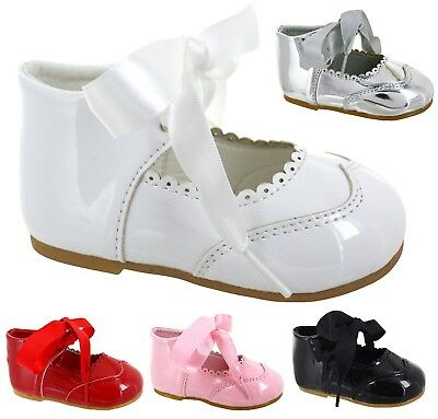 Baby Kids Infants Girls Glossy Patent Bow Wedding Party Spanish Shoes Size 3-8