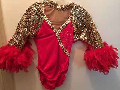 Lot of 3 available. Christmas parade/dance costumes with sequins and feathers .