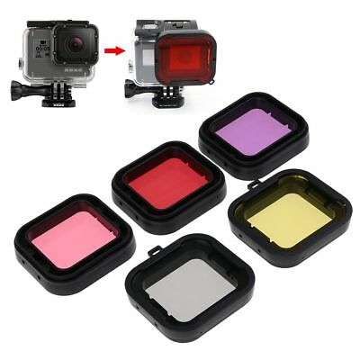 5PCS Red Yellow Grey Purple Diving Filter Lens Housing Case For GoPro HERO 4/3+